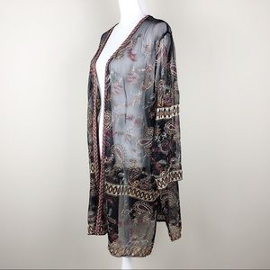 Catherines Tops - CATHERINES   Mesh Embellished Embroidery Cardigan